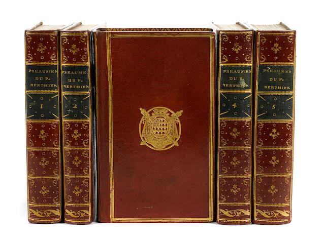 BINDING—ARMORIAL. BERTHIER, GUILLAUME FRANCOIS. 1704-1782. Les Pseaumes traduits en Francois, avec des reflexions. Paris: Merigot le jeune, 1788.