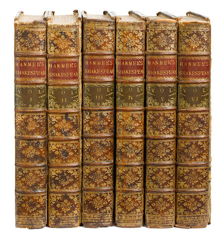 SHAKESPEARE, WILLIAM. 1564-1616. [HANMER, THOMAS, SIR, editor.] The Works of Shakespear. Oxford: Clarendon Press, 1771-70.