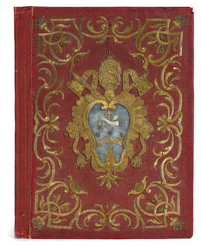 BINDING—ARMORIAL.  [POPE CLEMENT XIV. 1705-1774.] Elaborate embroidered binding of the
