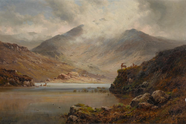 Alfred de Bréanski Snr. (British, 1852-1928) In the Highlands 20 1/4 x 30 1/4in (51.4 x 76.8cm)