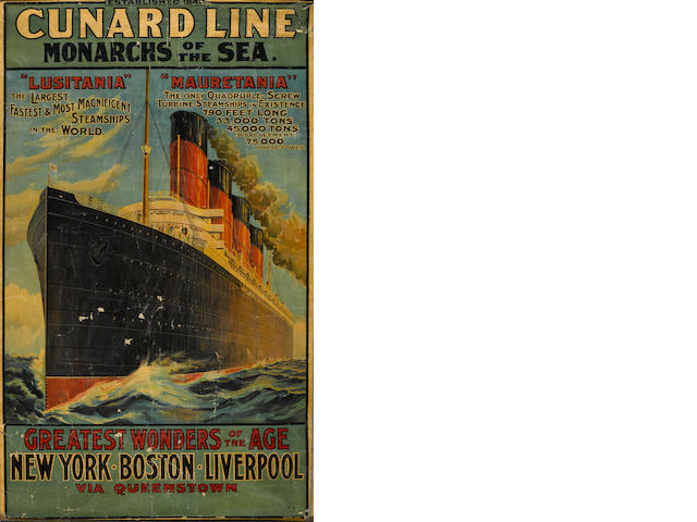 Artist Unknown; Cunard Line, Monarchs of the Sea, Lusitania and Mauretania;