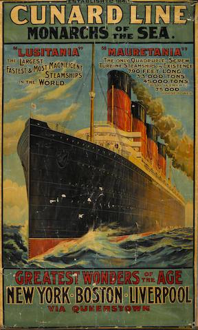 Artist Unknown; Cunard Line, Monarchs of the Sea, Lusitania and Mauretania;