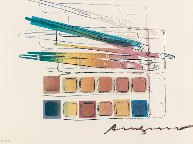 Andy Warhol (1928-1987); Watercolor Paint Kit with Brushes;