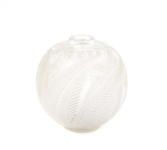 An R. Lalique glass vase: Palmes (Marcilhac 952), model introduced 1923