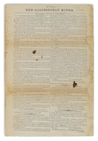 "CALIFORNIA PROCLAMATION. STOCKTON, ROBERT FIELD. 1795-1866. Broadside proclamation, ""To the People of California,"" printed as The Californian Extra, Monterey, Saturday, September 5, 1846, single sheet broadside, 320 x 213 mm,"
