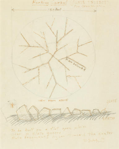 Robert Smithson, Forking Sprawl, ink and pencil on paper.  Provenance: Acquired directly from the artist.