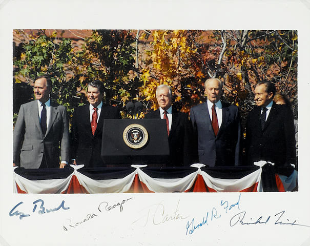 "PRESIDENTS. Photograph Signed (""George Bush,"" ""Ronald Reagan,"" ""J. Carter,"" ""Gerald R. Ford"" and ""Richard Nixon""),"