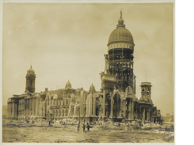 PHOTOGRAPHY—SAN FRANCISCO EARTHQUAKE. Album containing 71 sepia-toned gelatin silver prints by George S. McComb,