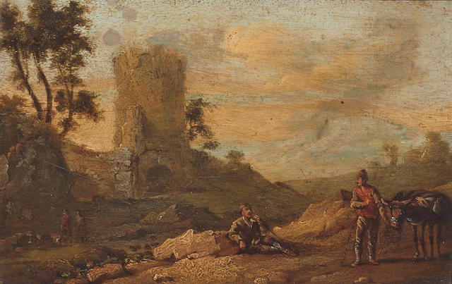 Continental School, 18th Century A landscape with figures and a donkey on a track 5 3/4 x 8 1/4in