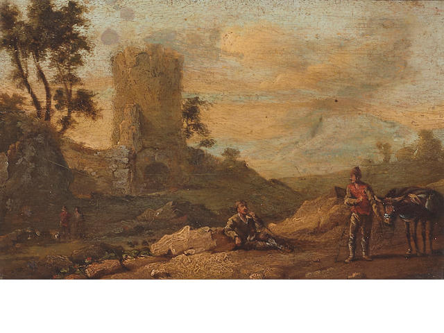 18th century Dutch School, Landscape with figures