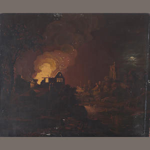 19th century English School, Landscape with fire