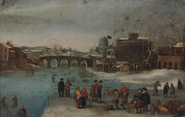 Flemish School, circa 1700 A pig market in winter 9 3/4 x 15 1/4in (24.7 x 38.7cm)