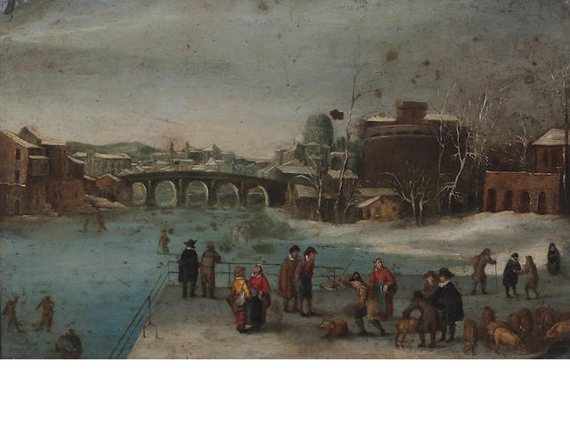 Dutch School, 17th Century SENDING TO BK The pig market in winter 9 3/4 x 15 1/4in (24.7 x 38.7cm)