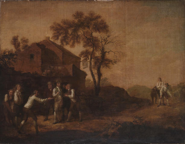 Late 18th century English School, Figures playing bowls