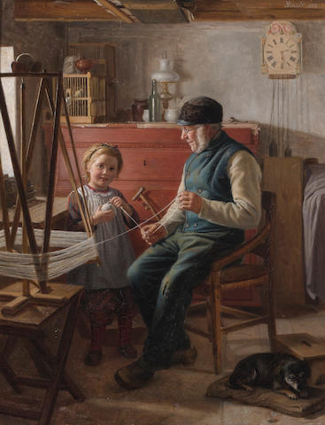 *** Schütt (19th Century) Helping grandpa 23 3/4 x 18 1/2in (60.3 x 47cm)