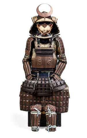 A russet-iron 5-plate uchidashi armor with sanskrit characters
