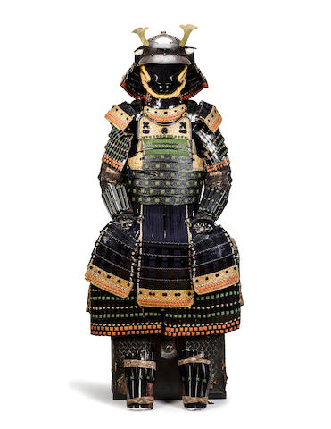 A black-lacquer armor with green lacing