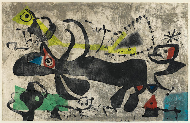 Joan Miro, El Gossos IV, (D. 1100), 1979, Color etching, Signed and numbered