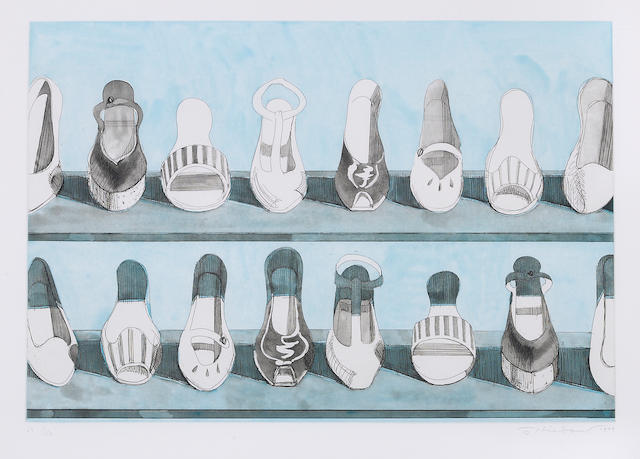 Wayne Thiebaud (born 1920); Shoe Rows, from Recent Etchings I;