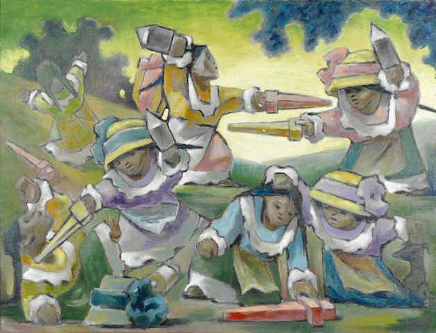 Jean Charlot, Seven Malinches No. 3, painted during December 1964 and January 1965, signed and dated at the lower right, oil on canvas, 30 x 40 inches, framed.  Number 986 in the artist's catalog of his own work.