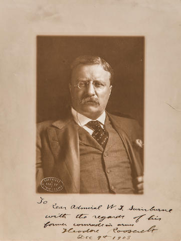 "ROOSEVELT, THEODORE. 1858-1919. Photograph Signed (""Theodore Roosevelt""), Inscribed (""To Rear Admiral W.T. Swinburne with the regards of his former comrade in arms"") and dated,"