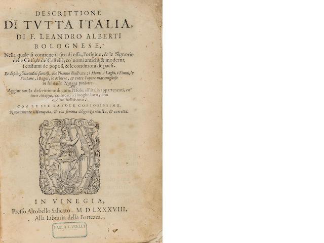 LEANDRO, ALBERTI. 1479-1552. Descrittione di tutta Italia. Venice: Altobello Salicato, 1588.