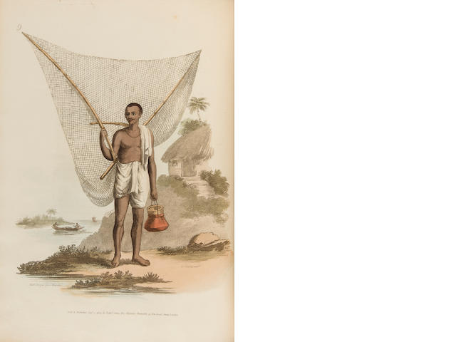 SOLVYNS, FRANS BALTASAR. 1760-1824. The Costume of Hindostan Elucidated by Sixty Coloured Engraving; with Descriptions in French and English, Taken in the Years 1798 and 1799. London: J. Hayes for E. Orme, 1807 [plates watermarked 1818].