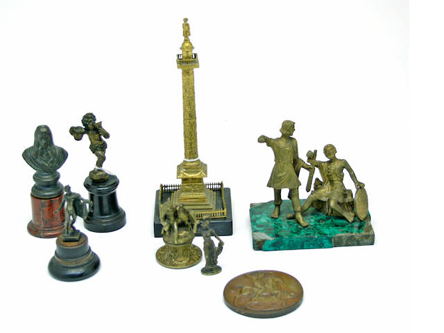 An assembled group of eight gilt and patinated bronze table decorations   19th/early 20th century