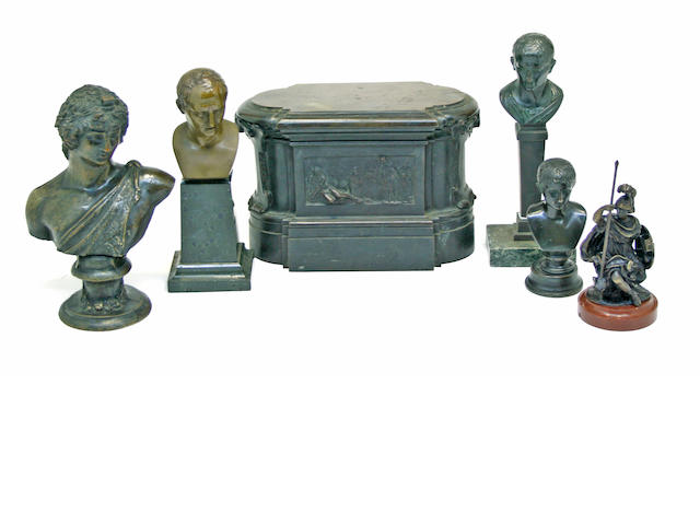 An assembled group of six patinated bronze table decorations  19th/early 20th century