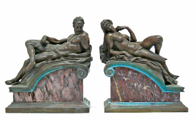 A pair of patinated bronze and marble allegorical figures of Night and Day  manner of Michelangelo (1475-1564)<BR />first half 20th century