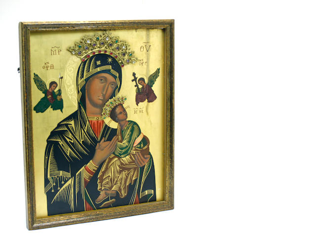 A Russian icon with applied jewels: Virgin of the Passion
