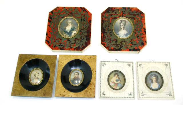 Six framed portrait miniatures first half 20th century