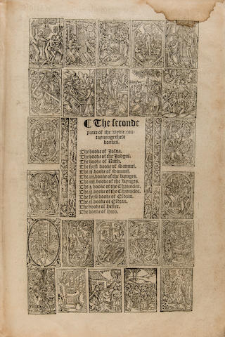BIBLE IN ENGLISH—GREAT BIBLE. [The Bible in Englyshe of the Largest and Greatest Volume. Rouen: Richard Carmarden, 1566.]