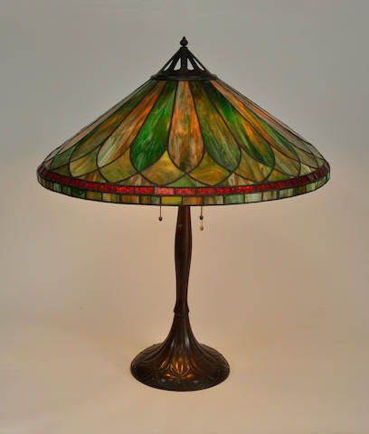 A Handel leaded glass and patinated metal table lamp<BR />first quarter 20th century