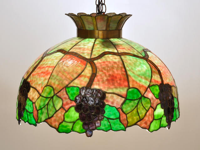 An American leaded glass Grape Cluster chandelier<BR />possibly by Kramer Bros.<BR />first quarter 20th century