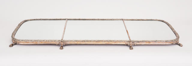 A Late Regency Sheffield-plated rectangular three-part mirrored plateau<BR />early 19th century