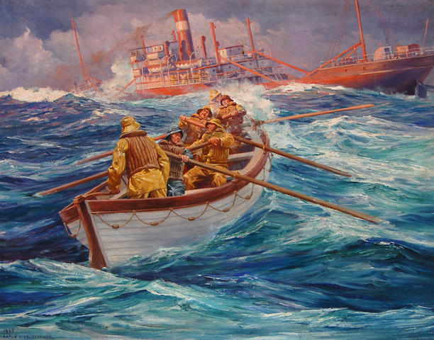 Anton Otto Fischer (American, 1882-1962) To the Rescue 28 x 36in
