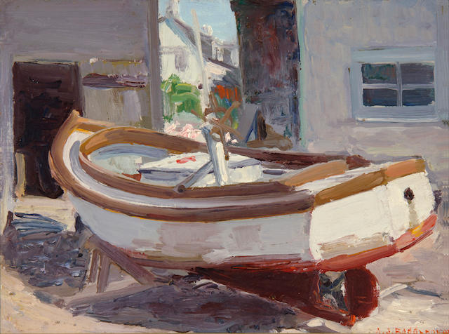 Abraham Jacob Bogdanove (Russian/American, 1887-1946) Lobster Boat on Fish Beach 12 x 16in
