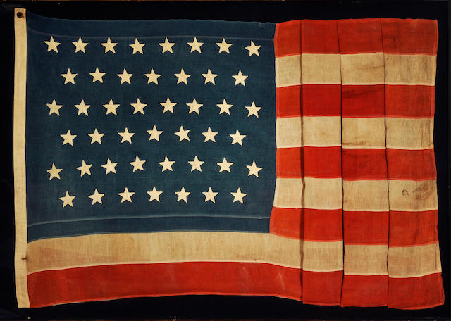 A forty-five star United States flag circa 1896-1908