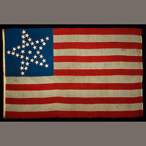 A thirty-seven star United States flag. circa 1867-1877