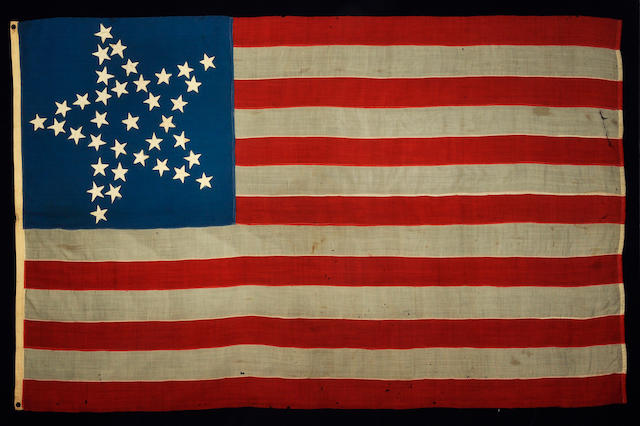 A thirty-seven star United States flag circa 1867-1877