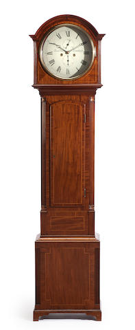 A George III mahogany inlaid tall case clock<BR />The dial inscribed David Downe, Edinburgh<BR />early 19th century