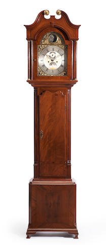 "A George III mahogany inlaid ""rocking ship"" tall case clock<BR />the dial inscribed Thomas Brown, Chester<BR />late 18th/early 19th century"