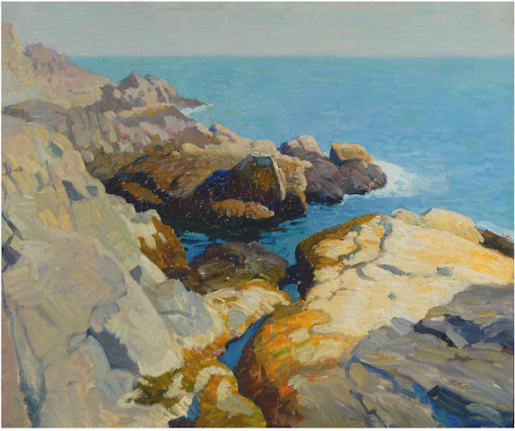 Newell Convers Wyeth (American, 1882-1945) Rocky Shore 25 x 30in