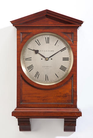 A George III mahogany bracket clock the dial inscribed Vulliamy, London, 1674 late 18th/early 19th century
