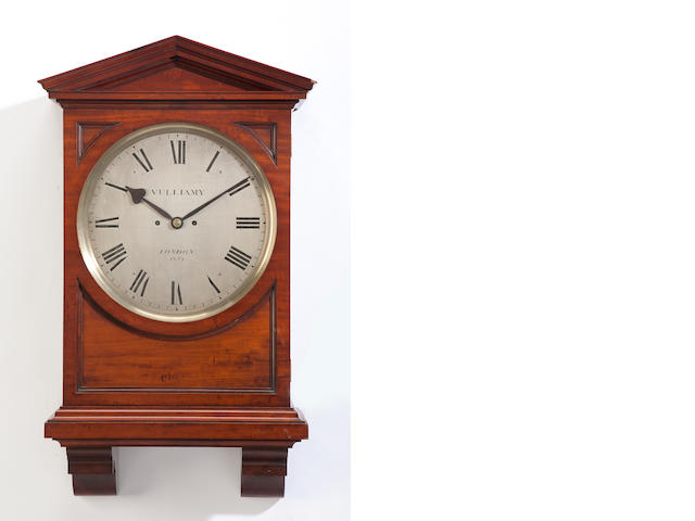 A George III mahogany bracket clock<BR />the dial inscribed Vulliamy, London, 1674<BR />late 18th/early 19th century