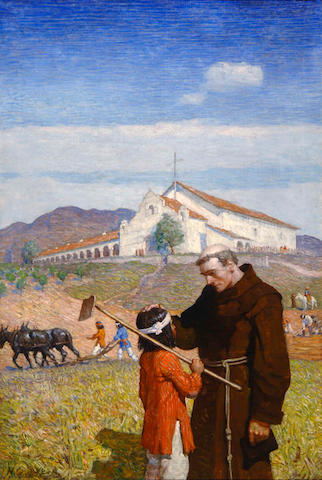 Newell Convers Wyeth (American, 1882-1945) California Mission 39 x 26in