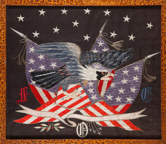 A military silk embroidered panel of an eagle and flags<BR />probably Philippines, late 19th/early 20th century