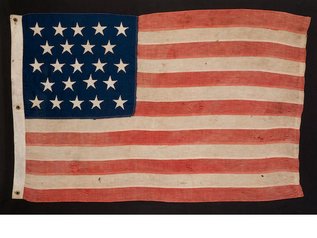 A twenty-three star commemorative flag of Maine statehood<BR />circa 1920