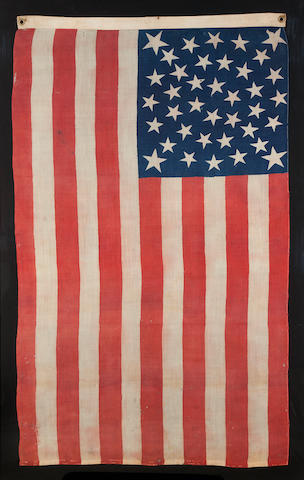 A rare printed thirty-eight star Centennial flag<BR />circa 1876
